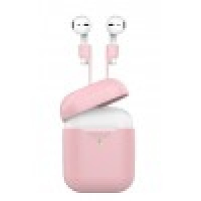 Promate AirPods Case with Strap, Premium Protective Silicone Case Cover with Magnetic Anti-Lost AirPods Strap and Wireless Charging Compatible Design for Apple AirPods and AirPods 2, PodKit Pink
