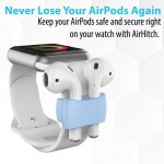 Promate AirPods Band Holder, Portable Ani-Lost Shockproof Silicone Watch Strap Holder Clip with Sweat-Resistant and Exercise Safety Secure for Apple AirPods and AirPods 2, Apple Watch, AirHitch Blue