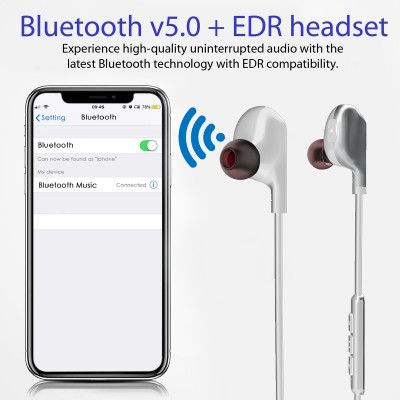 Promate Wireless Bluetooth Headphones, Sporty Magnetic Bluetooth 5.0 HD Bass Stereo Headset with Built-In Mic, Sweat Resistant and Camera Shutter Remote for iPhone, Samsung, iPad, Vitally-4 White