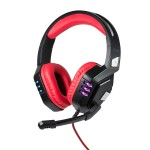 Promate Gaming Headset, Surround Sound Over-Ear USB Wired Haptic Feedback Headphones with Unidirectional Mic, Soft Memory Earmuffs, Volume Control and LED Light for PC, Laptop, Python Red