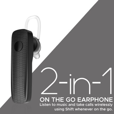 Promate Wireless Mono Earphone, Stylish Secure-Fit Bluetooth v5.0 Headset with HD Voice Clarity, Ear-Lock Design and Built-in Microphone for Smartphones, Music, Tablets, Work, Shift Black