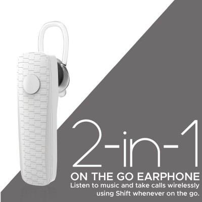 Promate Wireless Mono Earphone, Stylish Secure-Fit Bluetooth v5.0 Headset with HD Voice Clarity, Ear-Lock Design and Built-in Microphone for Smartphones, Music, Tablets, Work, Shift White