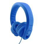 Promate Kids Headset, Over-Ear Volume Limited Wired Headphones with Mic, Adjustable Headband, Child Safe Foam Headphones for Home, Travel, Smartphones PC Music Gaming, Flexure-2 Blue
