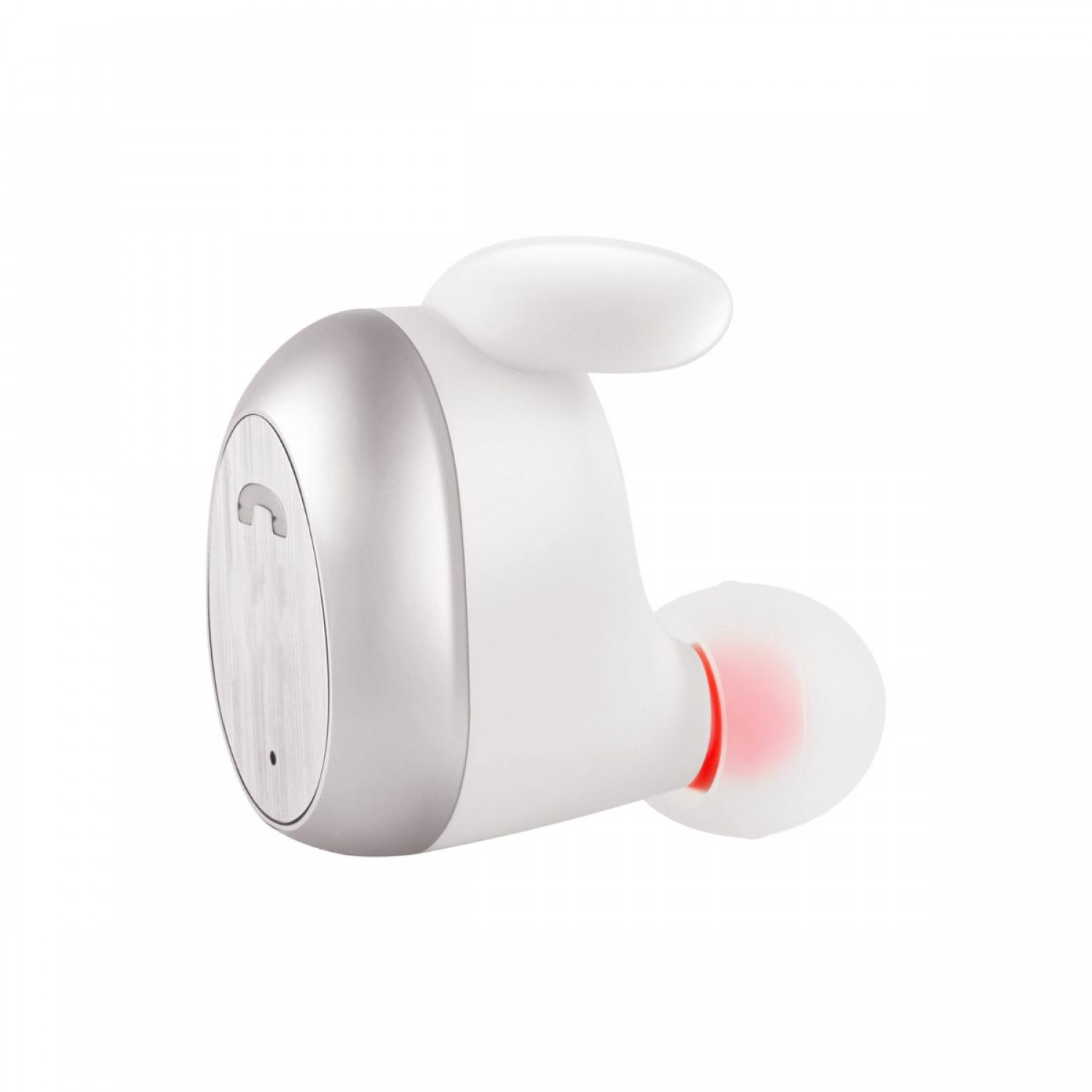 Promate Wireless Earbud, Smallest High-Definition Mono In-Ear Bluetooth v5.0 Earphone with Built-In Microphone and Noise Reduction for Apple iPhone, Samsung, OnePlus, iPad, iPod, Mod White