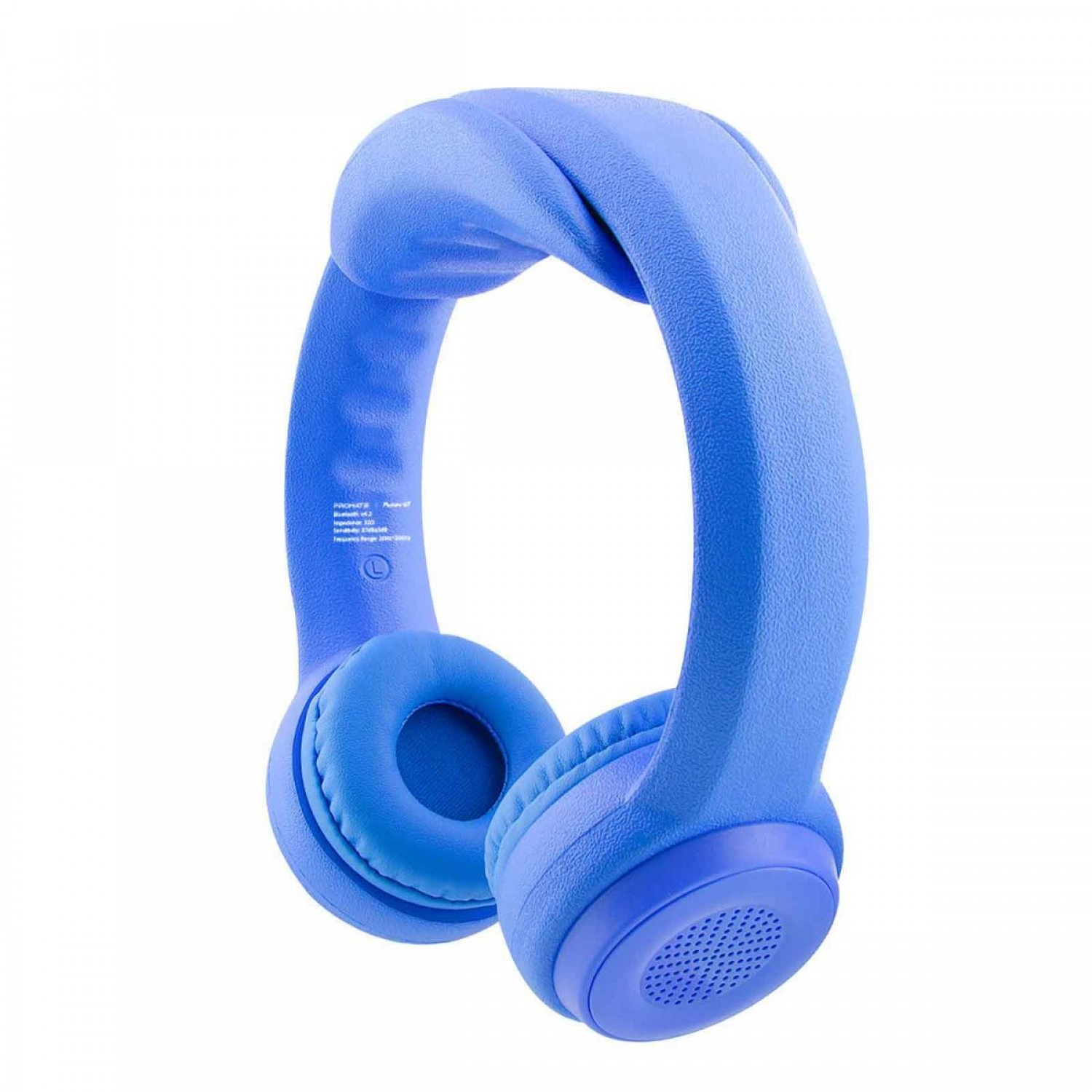 Promate Kids Bluetooth Headphones, Premium Wireless Flex-foam Stereo Headset with Volume Limiting, Soft Cushion Ear Pads and Built-In Mic for Travel, Smartphones, Music, Flexure-BT Blue