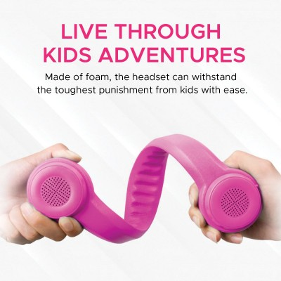 Promate Kids Bluetooth Headphones, Premium Wireless Flex-foam Stereo Headset with Volume Limiting, Soft Cushion Ear Pads and Built-In Mic for Travel, Smartphones, Music, Flexure-BT Pink