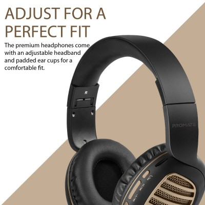Promate Wireless Headphones, Premium Over-Ear HD Stereo Bluetooth Foldable Headphones with Built-In Mic, Passive Noise Cancellation, TF Card Slot and FM Radio for Smartphones, Tablet, PC, Concord Gold