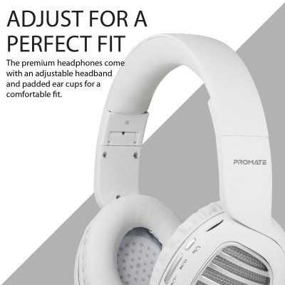 Promate Wireless Headphones, Premium Over-Ear HD Stereo Bluetooth Foldable Headphones with Built-In Mic, Passive Noise Cancellation, TF Card Slot and FM Radio for Smartphones, Tablet, PC, Concord Silver
