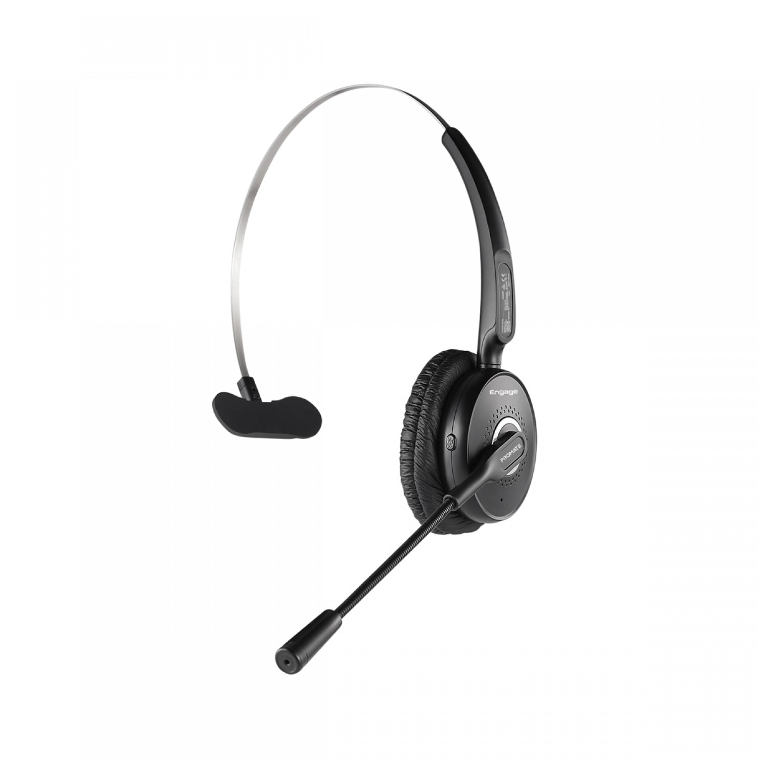 Promate Wireless Mono Headset, Premium Bluetooth Headphone with Noise Cancelling Mic, HD Voice, Built-In Controls and Adjustable Fit Headband for Skype, Stage Speaker, Teaching, Engage