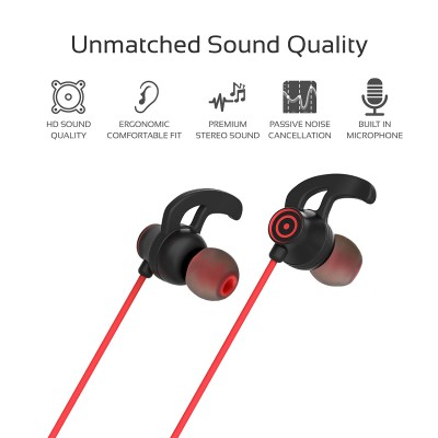 Promate In-Ear Wired Earbuds, Premium 3.5mm HD Stereo Sound Earphones with Built-In Mic, Sweat Resistant, Anti-Tangled Cords and Passive Noise Cancelling Headset for Music, Gym, Running, Laptops, Swift Red