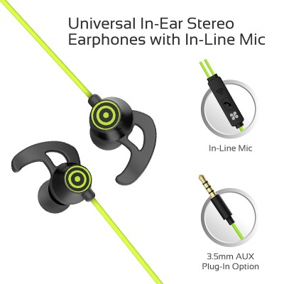 Promate In-Ear Wired Earbuds, Premium 3.5mm HD Stereo Sound Earphones with Built-In Mic, Sweat Resistant, Anti-Tangled Cords and Passive Noise Cancelling Headset for Music, Gym, Running, Laptops, Swift Green