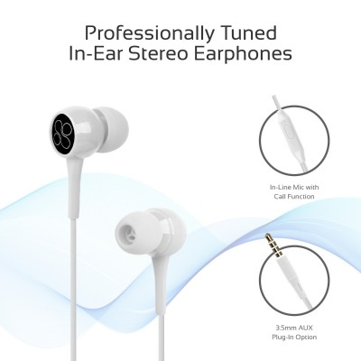 Promate In-Ear Headphones, Premium 3.5mm Stereo Wired Earphones with Built-In Microphones, Tangle Free Cord and Noise-Isolating Headset Control for iPhone X, Samsung Note 9, S9+, iPad, Bent White