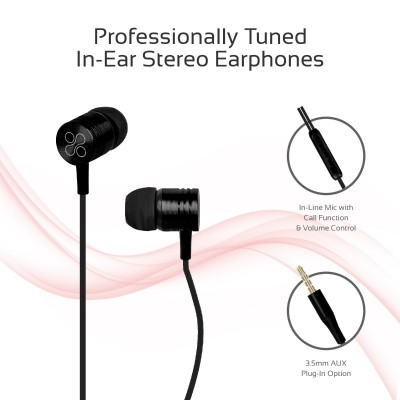 Promate Wired Earphones, Premium Metal 3.5mm In-Ear Earphones Stereo Headphones with Crystal Sound, Noise Isolating, Built-In Volume Control and Microphone for iPhone X, Samsung Note 9, S9, Meta Black