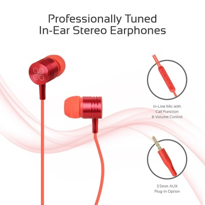 Promate Wired Earphones, Premium Metal 3.5mm In-Ear Earphones Stereo Headphones with Crystal Sound, Noise Isolating, Built-In Volume Control and Microphone for iPhone X, Samsung Note 9, S9, Meta Red