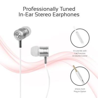 Promate Wired Earphones, Premium Metal 3.5mm In-Ear Earphones Stereo Headphones with Crystal Sound, Noise Isolating, Built-In Volume Control and Microphone for iPhone X, Samsung Note 9, S9, Meta White
