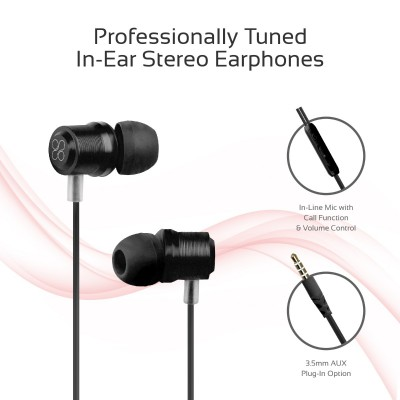 Promate Wired Earphone, Premium Magnetic Earbuds Stereo Headphones with Microphone, Built-In Volume Control, 1.2m Tangle Free Wire and Noise Cancelling for Smartphones, Tablets, Laptop, iPod, Travi Black