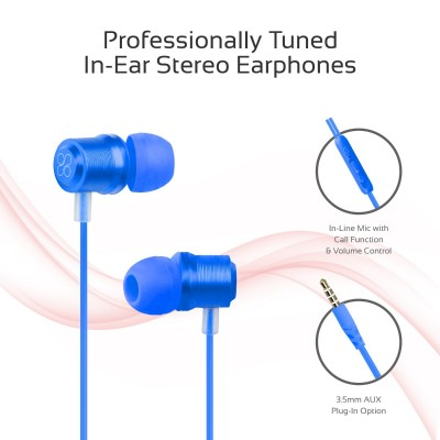 Promate Wired Earphone, Premium Magnetic Earbuds Stereo Headphones with Microphone, Built-In Volume Control, 1.2m Tangle Free Wire and Noise Cancelling for Smartphones, Tablets, Laptop, iPod, Travi Blue