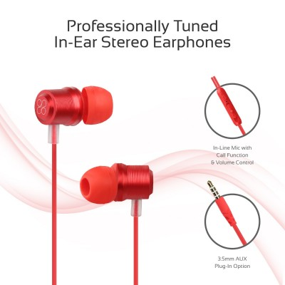 Promate Wired Earphone, Premium Magnetic Earbuds Stereo Headphones with Microphone, Built-In Volume Control, 1.2m Tangle Free Wire and Noise Cancelling for Smartphones, Tablets, Laptop, iPod, Travi Red