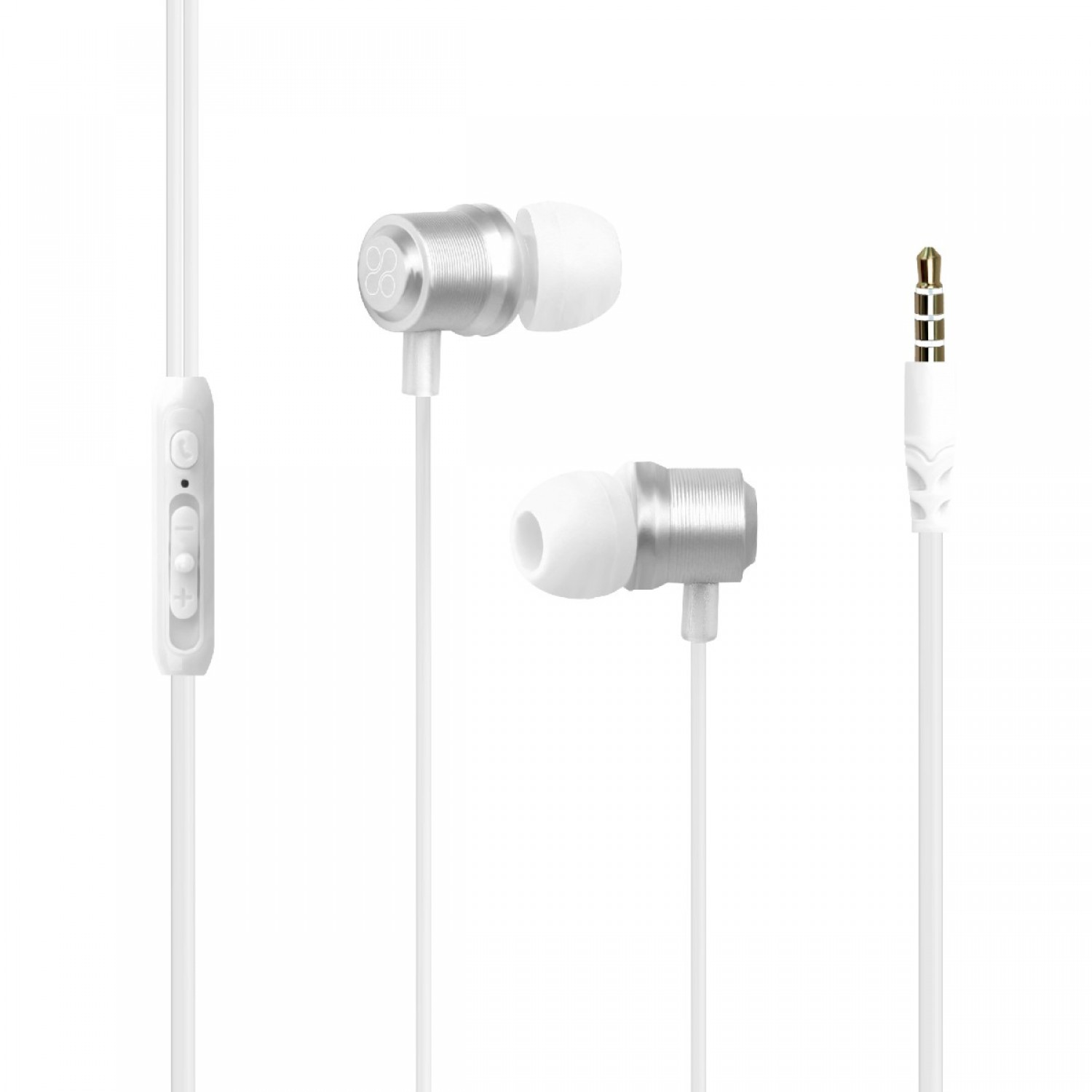 Promate Wired Earphone, Premium Magnetic Earbuds Stereo Headphones with Microphone, Built-In Volume Control, 1.2m Tangle Free Wire and Noise Cancelling for Smartphones, Tablets, Laptop, iPod, Travi White