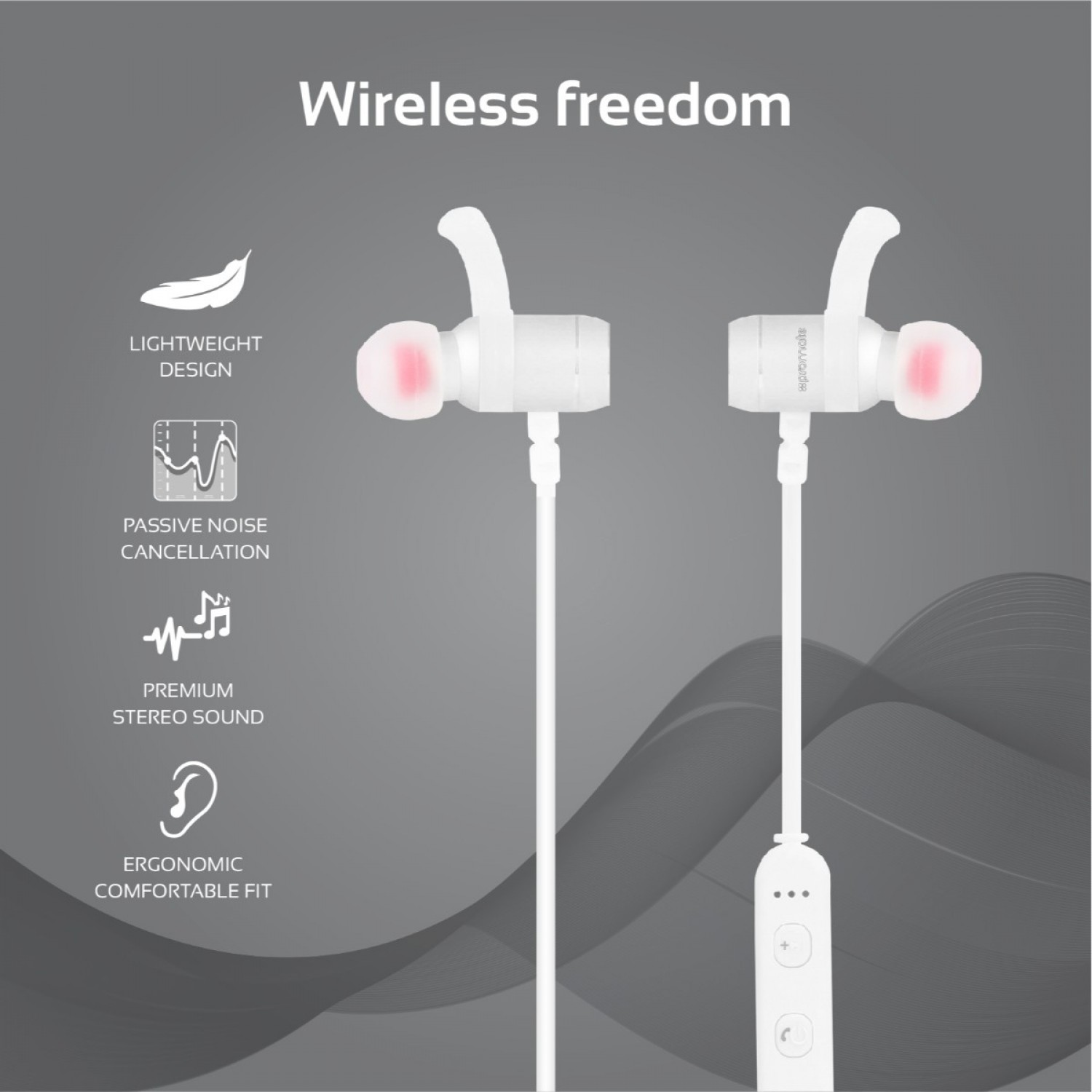Promate Bluetooth Earbuds, Lightweight HiFi Stereo Magnetic Sports Earphones with Built-In Mic, Sweat Resistant, Noise Cancellation and Secure-Fit Design for Gym, Running, Smartphones, Move Silver
