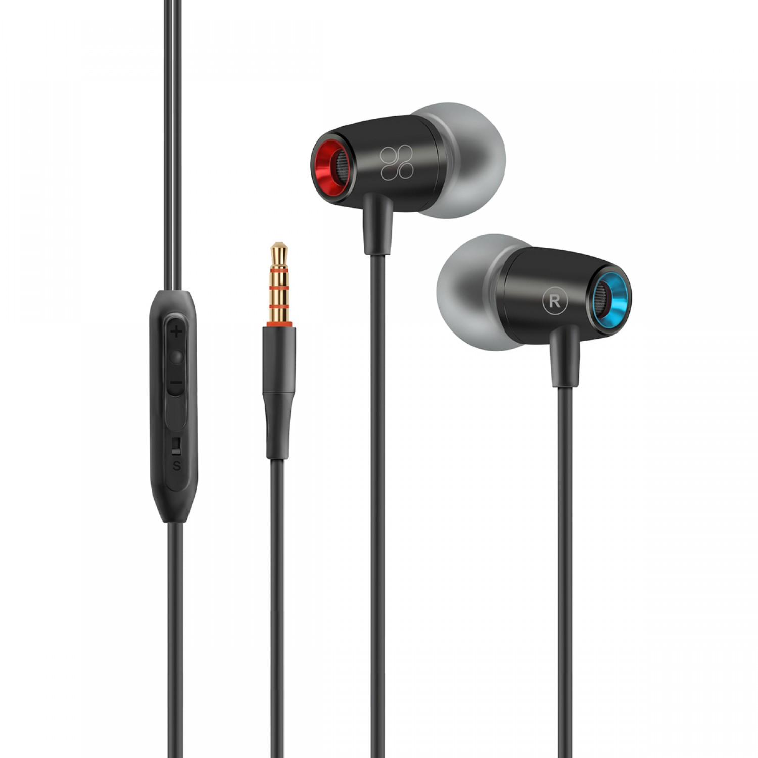 Promate Earphones, Dynamic In-Ear Noise-Isolating Earbuds Headphones with Built-In Microphone, 3.5mm Jack, Tangle Free Cord and Volume Control for Smartphones, Tablets, Laptops, TuneBuds-1 Black