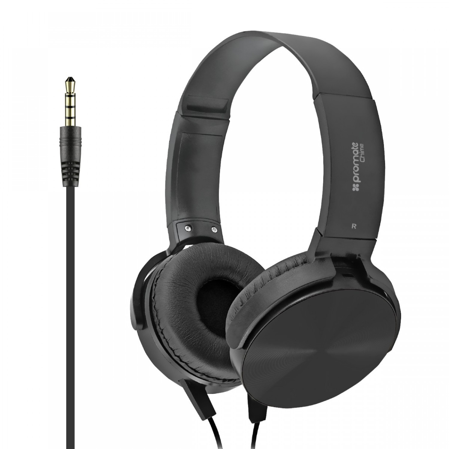 Promate Headphone, Premium Over-Ear Headset with Rotatable Ear-Cups, Built-in Microphone, HD Sound, 3.5mm Audio Jack and Anti-Tangle Wires for Smartphones, Tablets, Mp3, Laptops, Chime Black