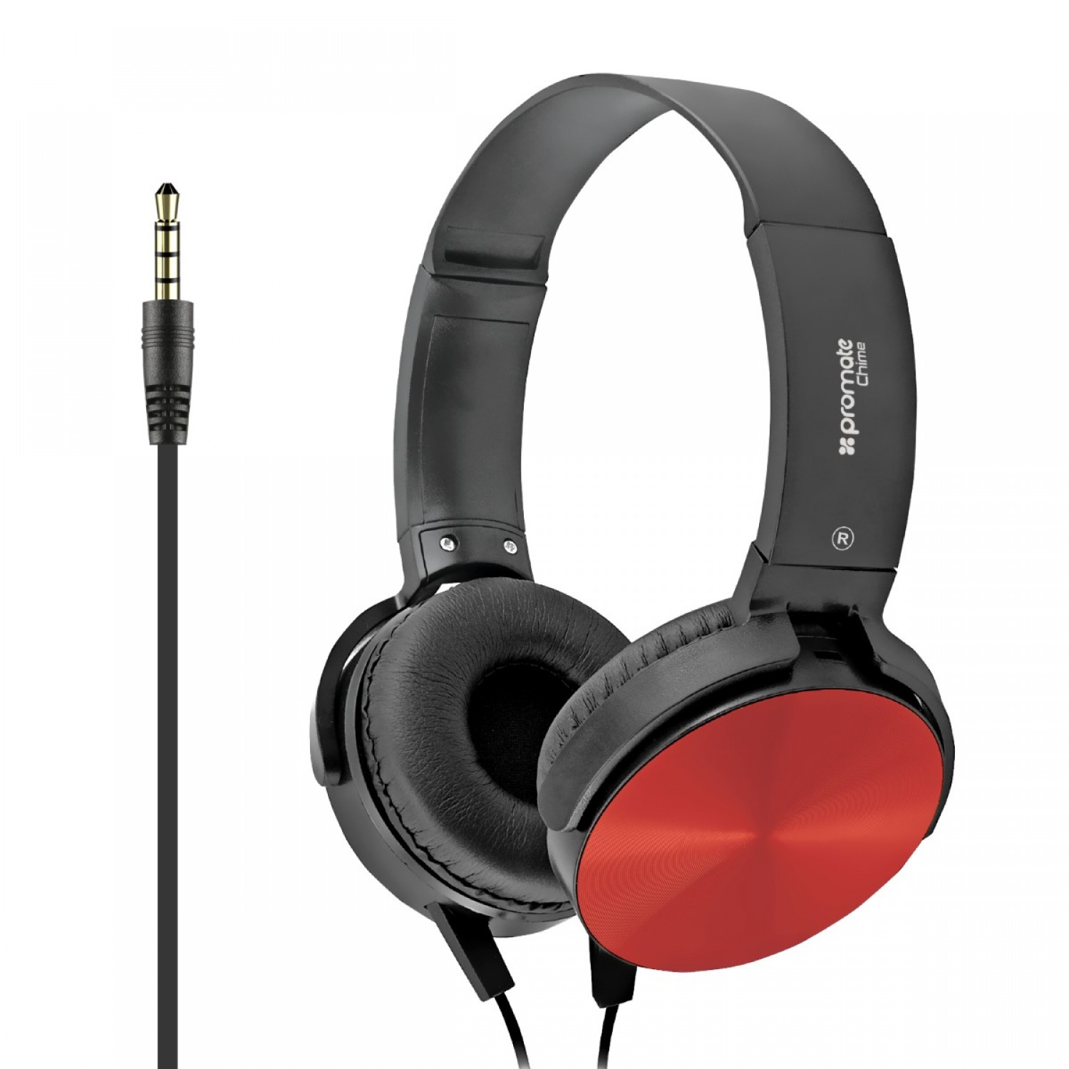 Promate Headphone, Premium Over-Ear Headset with Rotatable Ear-Cups, Built-in Microphone, HD Sound, 3.5mm Audio Jack and Anti-Tangle Wires for Smartphones, Tablets, Mp3, Laptops, Chime Red