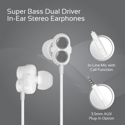Promate In-Ear Earphones, Premium Dual-Driver Stereo Earbuds with Dual Dynamic Sound, Built-In Microphone, Anti Tangle Cords and Noise Isolating for Smartphones, Tablets, Laptops, MP3, Ivory White