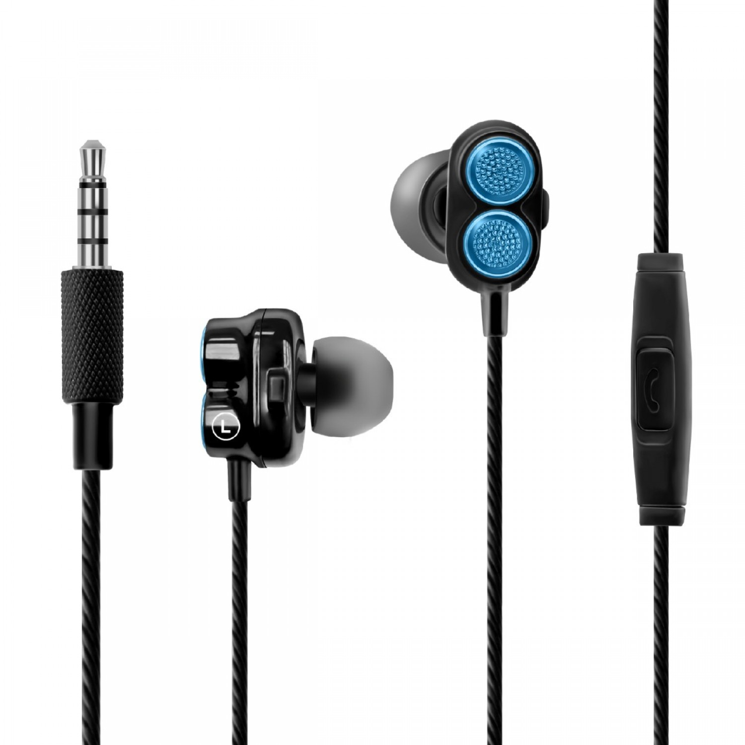 Promate In-Ear Earbuds, Dual Dynamic Driver Earphones with Dual Speakers, Built-In Mic, Deep Bass, Anti Tangle Cords and Noise Isolating HiFi Audio for Apple, Android, PC, Tablets, Laptops, Onyx Blue