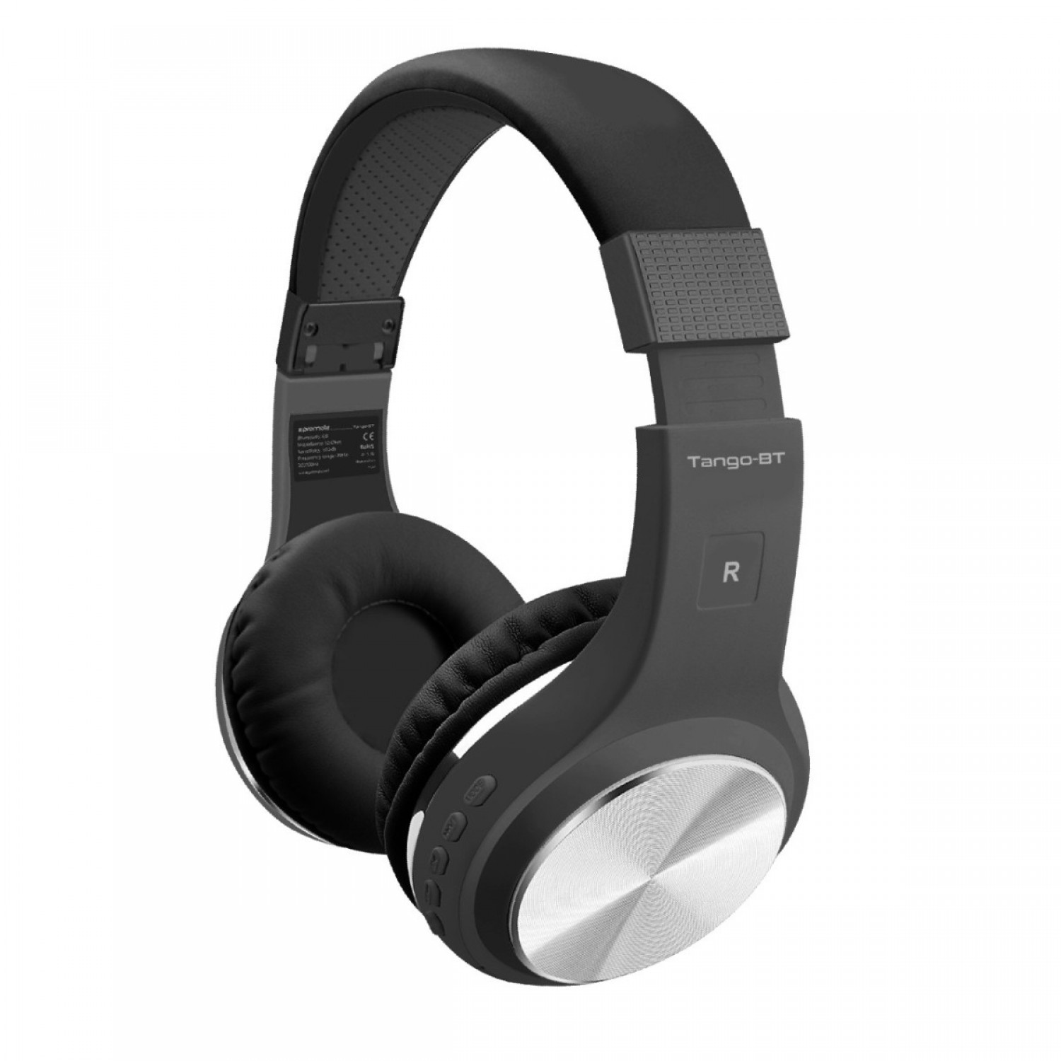 Promate Wireless Headphones, Foldable Bluetooth Stereo Adjustable Headset with Built-In TF Card slot, Microphones, Noise Cancelling and Wired Mode for All Bluetooth and Aux Enabled Devices, Tango-BT Black