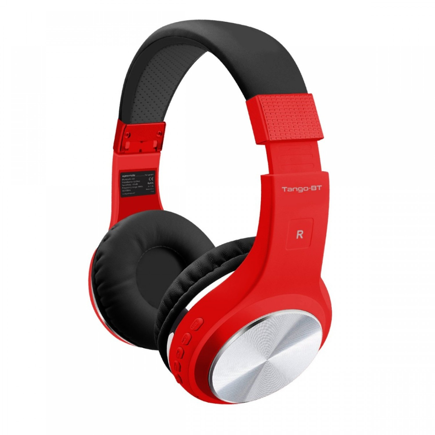 Promate Wireless Headphones, Foldable Bluetooth Stereo Adjustable Headset with Built-In TF Card slot, Microphones, Noise Cancelling and Wired Mode for All Bluetooth and Aux Enabled Devices, Tango-BT Red