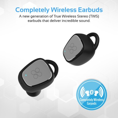 Promate True Wireless Headphones, Twin Bluetooth V4.2 Ergonomic Fit Earphones with 300mAh Charging Case, HD Sound, Noise Cancelling, Sweatproof with Built-In Mic for Smartphones, Tablets, iPod TrueBlue-2 Black