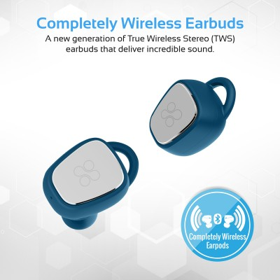 Promate True Wireless Headphones, Twin Bluetooth V4.2 Ergonomic Fit Earphones with 300mAh Charging Case, HD Sound, Noise Cancelling, Sweatproof with Built-In Mic for Smartphones, Tablets, iPod TrueBlue-2 Blue