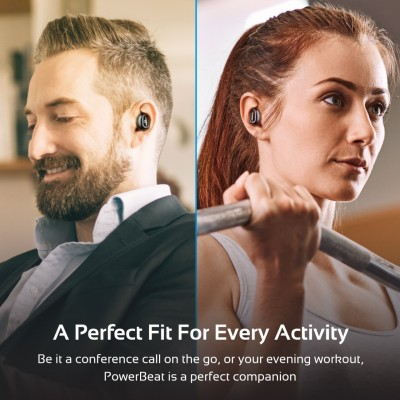 Promate Wireless Earbud with Power Bank, Smallest True Wireless Bluetooth Headphone with 5000mAh Charging Case, Noise Cancelling and Built-In Mic for all Bluetooth Enables Devices, PowerBeat Silver