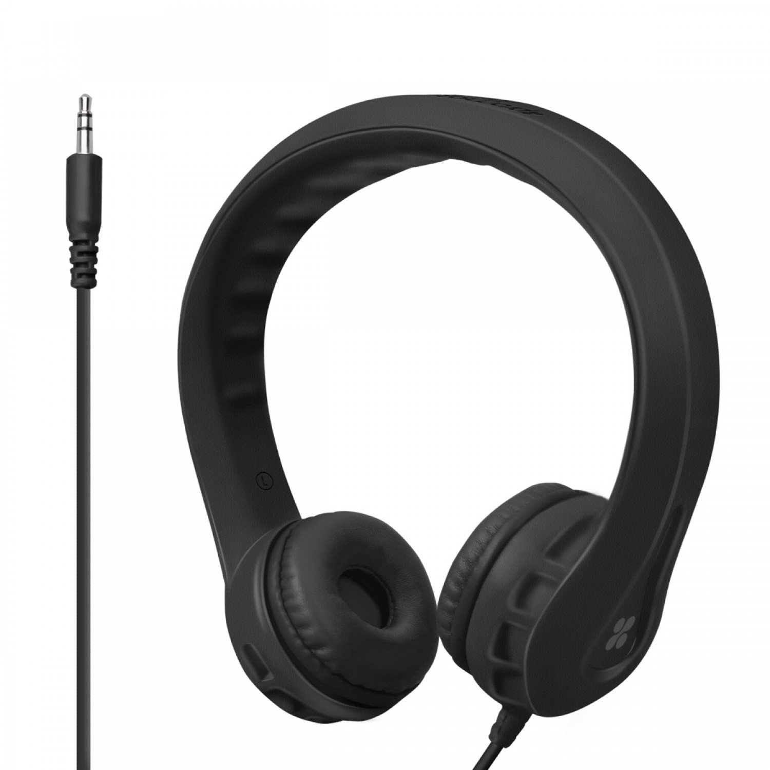 Promate Kids Headset, High Quality Volume Limited Wired Headphones with Child Safe Foam Headphones for Home, Travel, Smartphones PC Music Gaming, Flexure Black