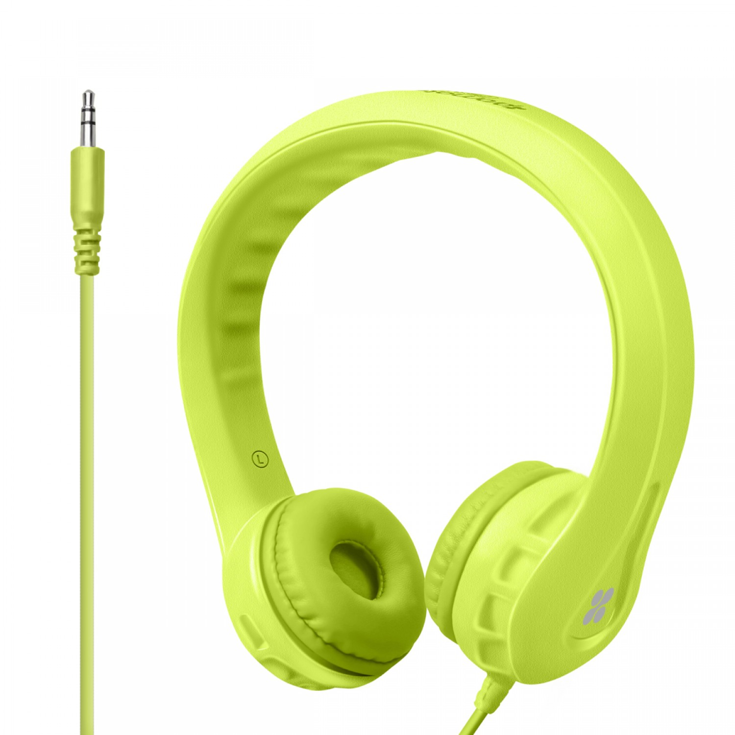 Promate Kids Headset, High Quality Volume Limited Wired Headphones with Child Safe Foam Headphones for Home, Travel, Smartphones PC Music Gaming, Flexure GREEN