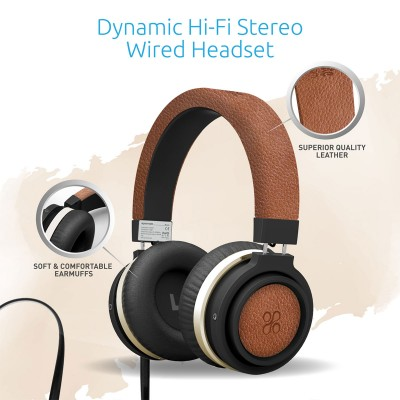 Promate Wired Over the Ear Headset with Noise Cancellation for Mobiles, PC and Laptop, Boom - Brown