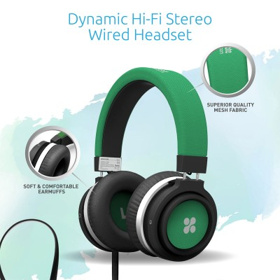 Promate Wired Over the Ear Headset with Noise Cancellation for Mobiles, PC and Laptop, Boom - Green