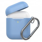 Promate AirPods Case, Lightweight Anti-Slip Soft Silicone 360 Degree Protective Cover with Anti-Lost Carabiner Hook and Wireless Charging Compatible for Apple AirPods and AirPods 2, GripCase Blue