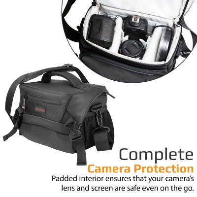 Promate Large DSLR Camera Bag, Premium Compact Digital SLR Camera Bag with Rain Cover, Padded Shockproof Interior, Adjustable Compartments and Shoulder Strap for Nikon, Canon, Sony, Arco-L