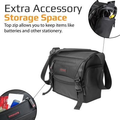Promate Medium DSLR Camera Bag, Durable Shock Resistant DSLR Camera Messenger Bag with Shoulder Strap, Adjustable Foam Padded Compartments and Rain Cover for Camera, Camcorder, Lens, Arco-M