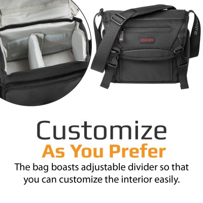 Promate Small DSLR Camera Bag, Shockproof Shoulder Camera Bag with Adjustable Foam Padded Divider, Quick Access Pocket and Rain Cover for Mirrorless DSLR, SLR, Lens, Camcorders, Arco-S