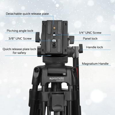 Promate Video Tripod, Professional 170cm Heavy Duty Aluminium Video Tripod with Mid-Level Spreader, 3 Way Pan Head, 10Kg Load Capacity for Canon, Nikon, Pro DV Video Cameras Pixels-170