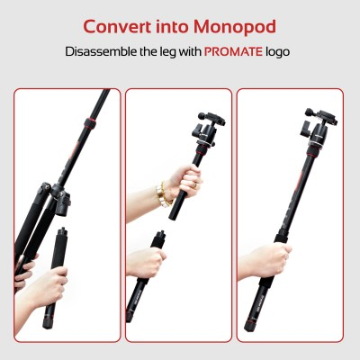 Promate Tripod Monopod, Lightweight 5-Section Adjustable Aluminum Tripod Monopod with Dual Bubble Level, 360 Degree Head for Canon, Nikon, DSLR, Smartphones, Precise-155