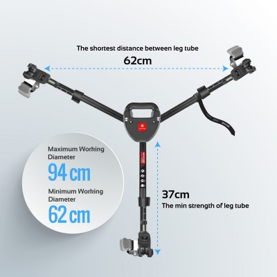 Promate Tripod Dolly, Photography Heavy Duty Foldable Tripod Dolly with Wheels and Adjustable Leg Mounts with 30KG Load Capacity for Canon, Nikon, Sony, DSLR, Camera Camcorder, TripodDolly