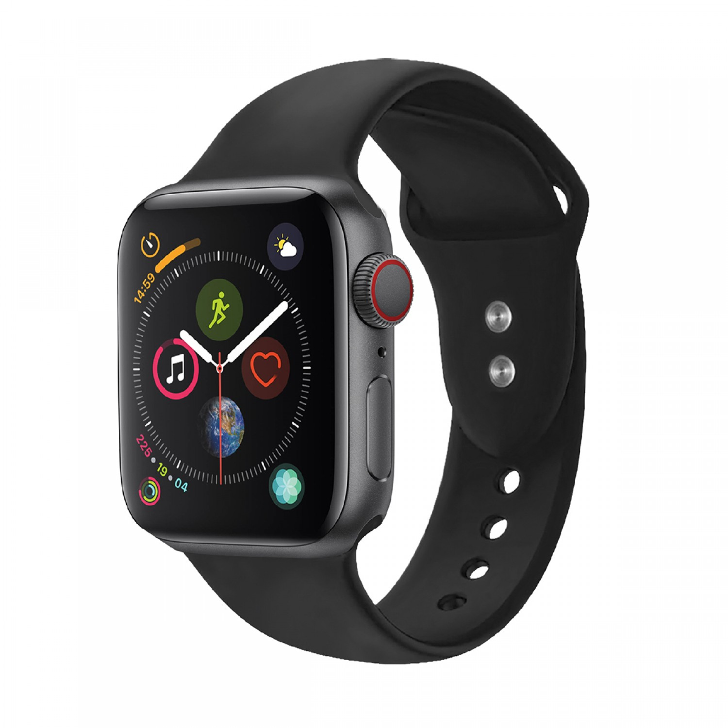 Promate Silicone Apple Watch 38mm/40mm Strap, Premium Adjustable Silicone Sport Wristband Replacement Strap with Sweatproof and Dual Lock Pin for Apple Watch Series 1,2,3 and 4 Medium/Large Size, Workout, Fitness, Oryx-38ML Black