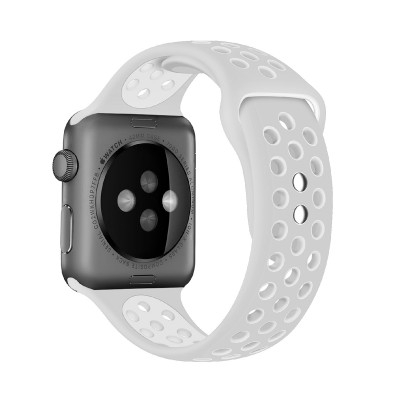 Promate Silicone Sport Band, Breathable Two-Toned Perforated Replacement Strap Breathable Wristband with Secure Double Pin-Tuck Closure and Sweat-Resistant for Apple Watch Series 42mm/44mm Medium/Large Size, Oreo-42ML Grey White