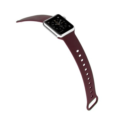 Promate Silicone Apple Watch 38mm/40mm Strap, Premium Adjustable Silicone Sport Wristband Replacement Strap with Sweatproof and Pin-and Tuck Closure for Apple Watch Series 1,2,3 and 4 Small/Medium Size, Workout, Fitness, Rarity-38SM Maroon