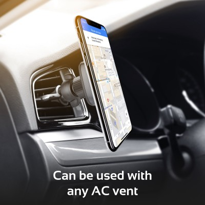 Promate Air Vent Phone Holder, 360 Degree Rotation Air Vent Magnetic Cell Phone Car Cradle Mount Holder with Strong Grip and Anti-Slip Surface for iPhone X, Samsung S9, S9+, OnePlus 5T, AirGrip-1 Maroon