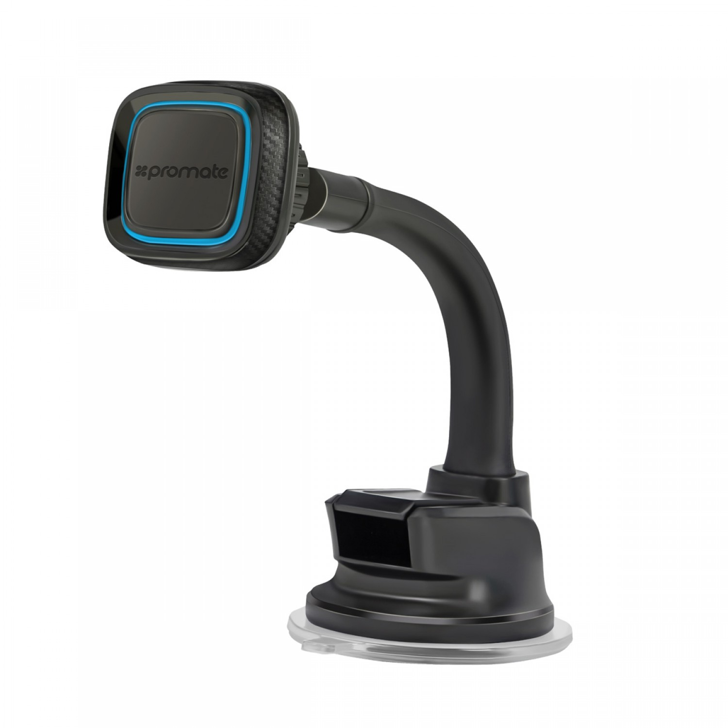 Promate Dashboard Mount, Universal Windshield or Dashboard Magnetic Car Mount Holder with 360 Degree Rotation, Flexible Gooseneck, Anti-Slip Grip and Secure Holder for iPhone X, Samsung Note 8, MagMount-4 Blue
